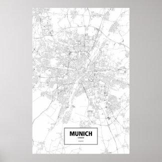 München, zwart Duitsland (op wit) Poster