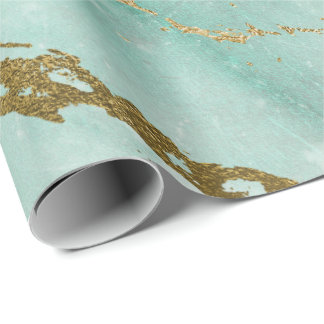 Munt Groen Tiffany Aqua Gouden Marmeren Glanzende Inpakpapier