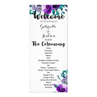 Munt & het Paarse BloemenProgramma van het 10,2x23,5 Uitnodiging Kaart