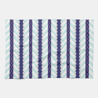 Munt, Marineblauw, Wit Geometrisch Gestreept Theedoek