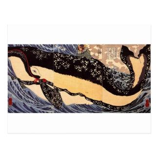 Musashi op de rug van een walvis door Utagawa Briefkaart