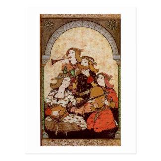 Musici, middeleeuwse muziek briefkaart