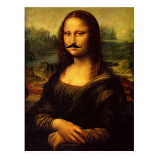 Mustachioed Mona Lisa Briefkaart