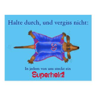 Mutmach-Karte mit süßem Superhelden (Super Dackel) Briefkaart
