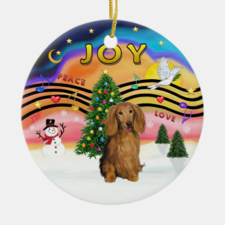 Muziek 2 van Kerstmis - Tekkel (LG H, sabelmarter) Rond Keramisch Ornament