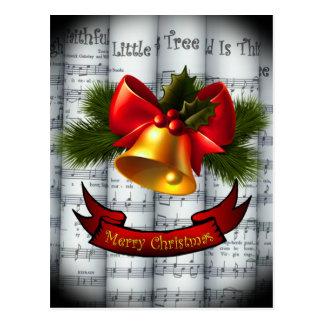 Muziek van het Blad van Kerstmis van Holly~Ribbon Briefkaart