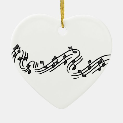 Muzieknoten Keramisch Hart Ornament