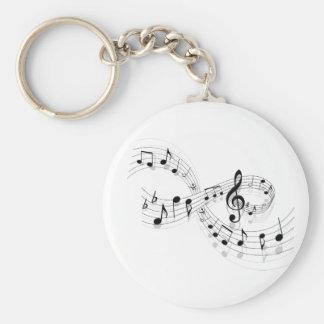 Muzieknoten op een Lijn Keychain van het Personeel Sleutelhanger