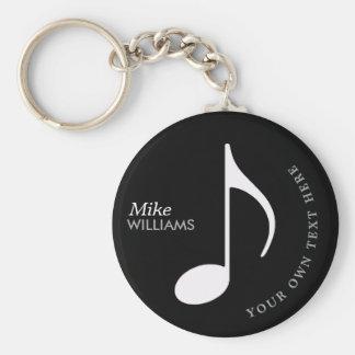 muzikaal symbool op zwarte keychain met naam sleutelhanger