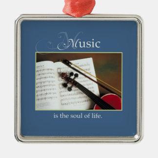 Muzikale Koorden, de Traditionele Ziel van het Zilverkleurig Vierkant Ornament
