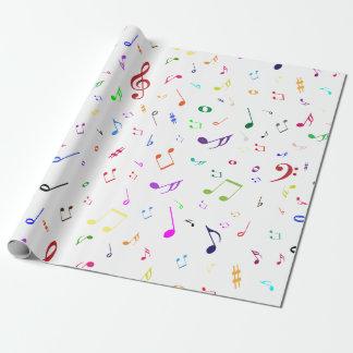 Muzikale Symbolen in de Kleuren van de Regenboog Inpakpapier