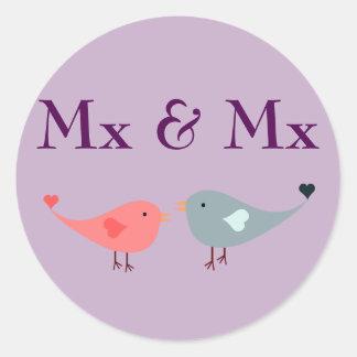Mx & Mx (huwelijk) Ronde Sticker