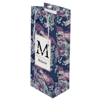 Mystiek Blauw Paars bloemenschets artsy patroon Wijn Cadeautas