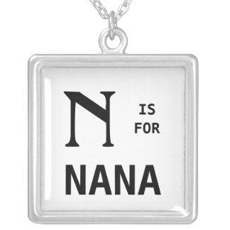 N is voor Nana Monogram Pendant Monogrammed Zilver Vergulden Ketting