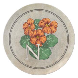 N voor het Monogram van het Alfabet van de Bloem Bord