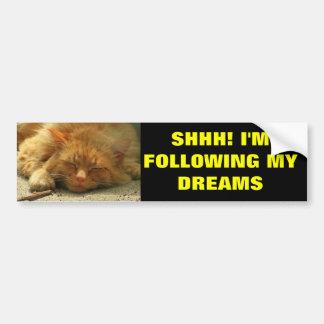 Na Mijn Dromen die Kat slapen Bumpersticker