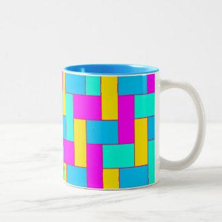 Naadloos Kleurrijk Patroon van Symmetrische Tweekleurige Koffiemok