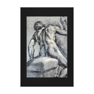 Naakt Man, Gezien From_Studies van de Meesters Canvas Afdrukken