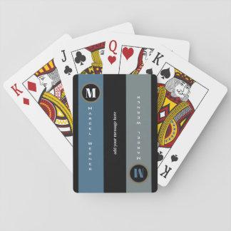 naam en aanvankelijk op strepen, moderne met speelkaarten