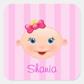 """""""Naam het!"""" Het Roze van het Gezicht van het baby Vierkante Stickers"""