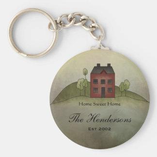 Naam Keychain van de Douane van het Huis van het Basic Ronde Button Sleutelhanger