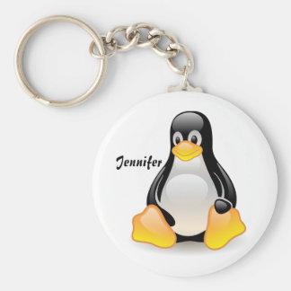 Naam van de douanemeisjes van de pinguïn de cartoo basic ronde button sleutelhanger