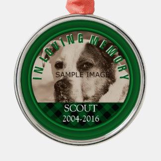 Naam van de Foto van de hond de Herdenkings in het Zilverkleurig Rond Ornament