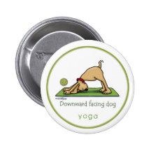 Naar beneden toegekeerde Hond - yogaknoop Ronde Button 5,7 Cm