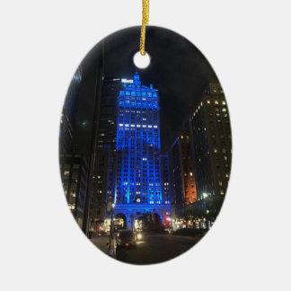 Nacht van de Bouw NYC Park Avenue van New York de Keramisch Ovaal Ornament