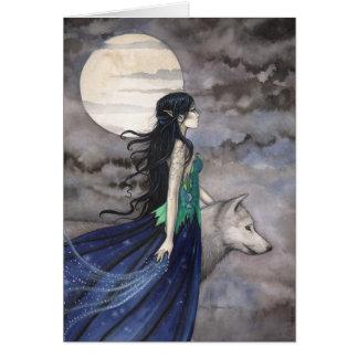 Nacht van het Wenskaart van de Wolf