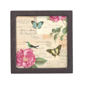 Nam de vintage doos van Girly met vogel, & Premium Decoratie Doosje