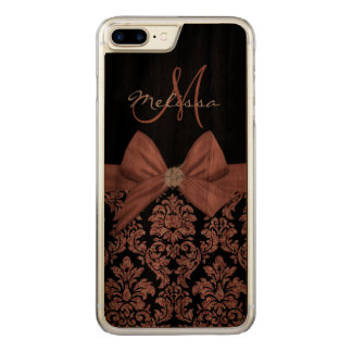 Nam goud schitteren Zwart Damast, Boog, Diamant Carved iPhone 7 Plus Hoesje