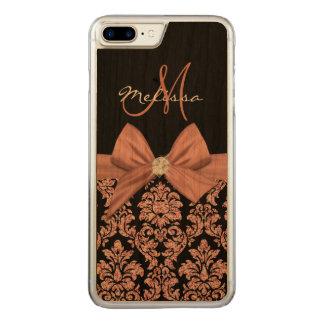 Nam goud schitteren Zwart Damast, Boog, Diamant Carved iPhone 8 Plus / 7 Plus Hoesje