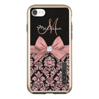 Nam goud schitteren Zwart Damast, Boog, Diamant Incipio DualPro Shine iPhone 8/7 Hoesje