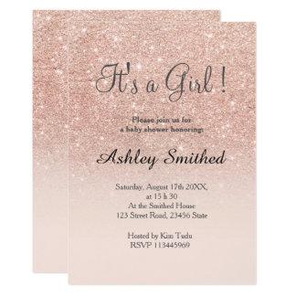 Nam gouden faux schitteren het roze baby shower 12,7x17,8 uitnodiging kaart