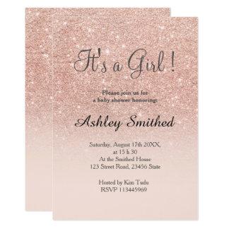 Nam gouden faux schitteren het roze baby shower kaart