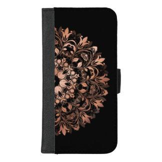 Nam Gouden Zwarte BloemenMandala toe iPhone 8/7 Plus Portemonnee Hoesje
