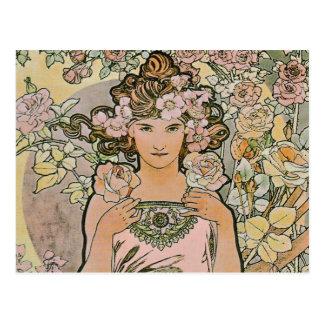 Nam het Bruids Briefkaart van de Jugendstil van
