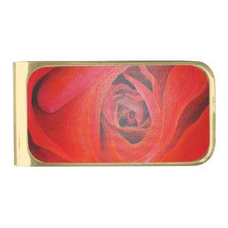 Nam het hart Gestalte gegeven Rood van Valentijn Vergulde Geldclip