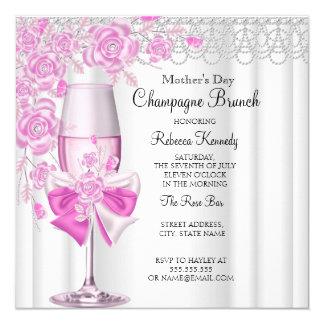 Nam het Mooie Roze van het moederdag de Brunch van 13,3x13,3 Vierkante Uitnodiging Kaart