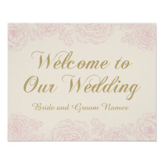 Nam Welkom Teken | van het huwelijk BloemenOntwerp Poster