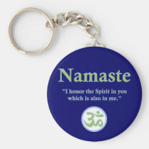 Namaste - met citaat en Om symbool Basic Ronde Button Sleutelhanger