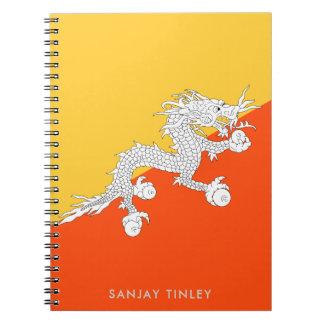 Nationale Vlag van Bhutan met de Naam van het Ringband Notitieboek
