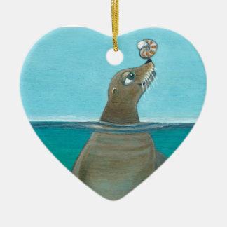 """""""Nautilus"""" de Zeeleeuw Keramisch Hart Ornament"""