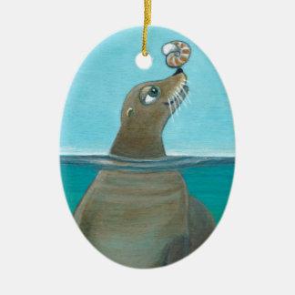 """""""Nautilus"""" de Zeeleeuw Keramisch Ovaal Ornament"""