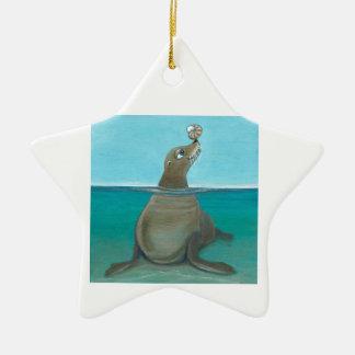 """""""Nautilus"""" de Zeeleeuw Keramisch Ster Ornament"""
