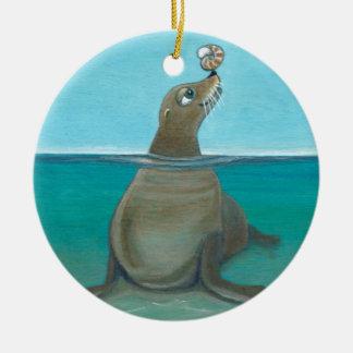"""""""Nautilus"""" de Zeeleeuw Rond Keramisch Ornament"""