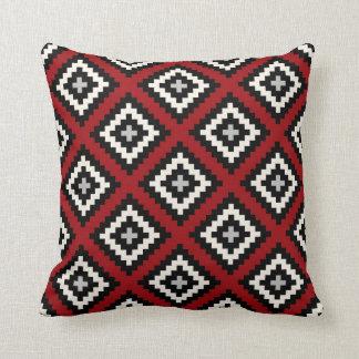 Navajo Geometrisch in Rood Zwart Grijs Sierkussen