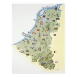 Nederland, kaart die onderscheidende eigenschappen briefkaart