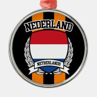 Nederland Zilverkleurig Rond Ornament